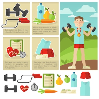 Set of health food and fitness.