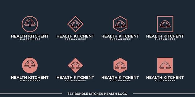 セット健康キッチンロゴデザインベクトルバンドルプレミアム