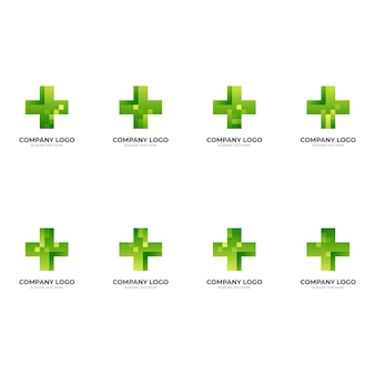 Set health tech logo, cross and pixel, combination logo with 3d green color style