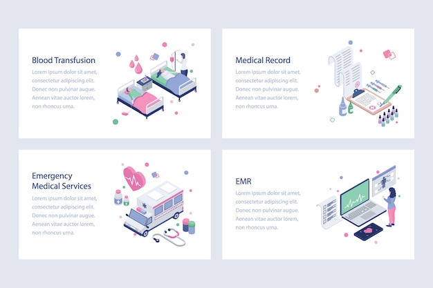 Set of healthcare isometric vectors
