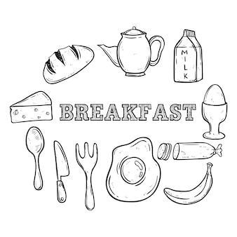 Set of healthy breakfast food using hand drawing or doodle art