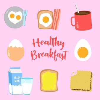 Set of healthy breakfast vector design collection, can be use to make poster