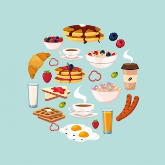 Set healthy breakfast with protein food nutrition