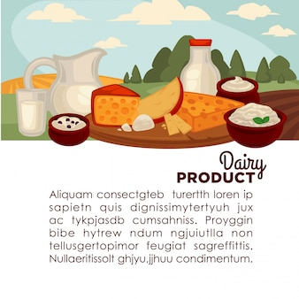 Set of healthy dairy products.