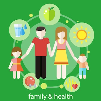Set of healthy elements in flat design around family members. healthy family concept