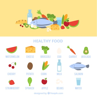 Set of healthy food in flat design