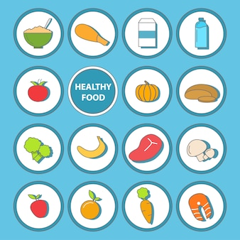 Set of healthy food icons in flat style design.