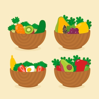 Set of healthy fruits and salads bowls