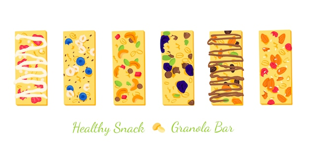 Set of healthy granola bars with cereals illustration