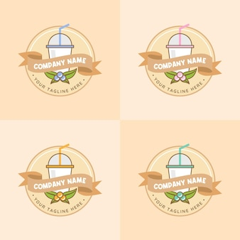 Set of healthy juice drink and beverage with various fruits logo template in soft pastel brown color