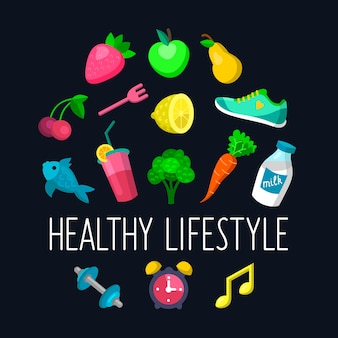 Set of healthy lifestyle icons