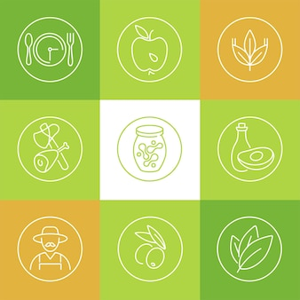 Set of healthy lifestyle and related concept icons on green, white or orange background