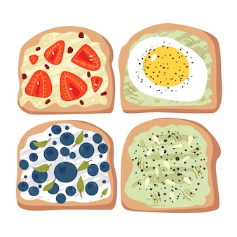 Установите здоровые бутерброды с овощами и фруктами. полезные открытые бутерброды