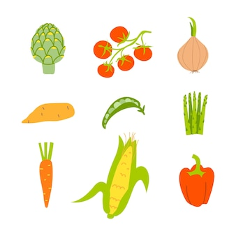Set of healthy vegetables isolated