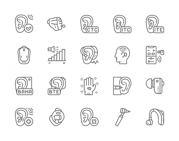 Set of hearing aid line icons.