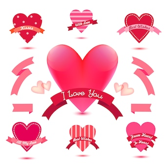 Set of heart banners, ribbons, love badges, icons. vintage valentine set, romantic collection, wedding