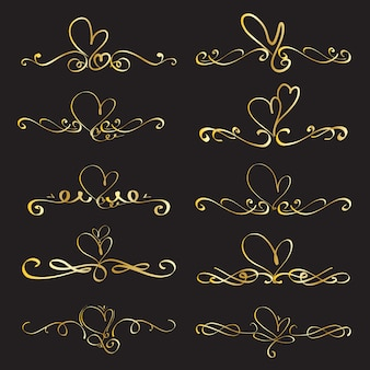 Set of heart decorative calligraphic elements for decoration.