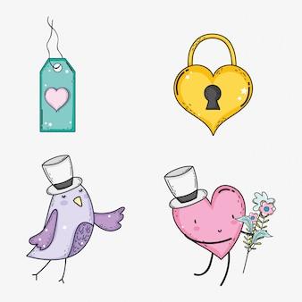 Установите сердце замок с сердцем и птицей на день Святого Валентина