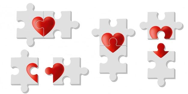 Set of heart puzzles represent love