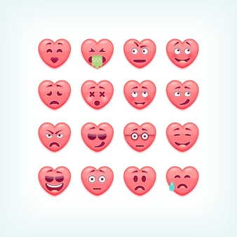 Set of heart shape emoticons.  romantic and valentines smileys, emojies.