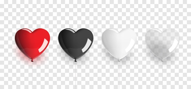 Set of heart shaped balloons
