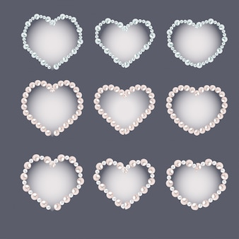 Set of heart shaped pearl frames isolated on gray