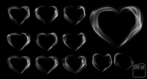 Set of hearts made of smoke.