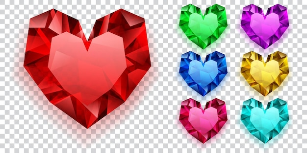 Set of hearts in various colors made of crystals
