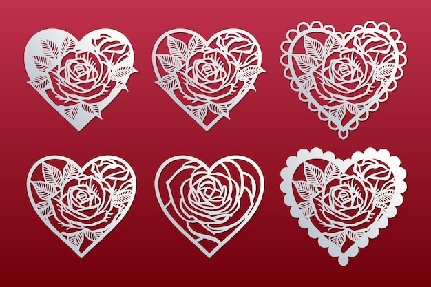 Set of hearts with pattern of roses. templates for cutting, laser cut. valentine's day cards.