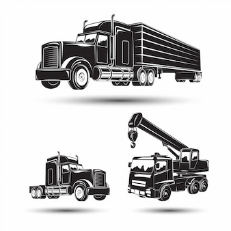 Set of heavy building machines, excavator and bulldozer, truck and auto crane, monochrome  icons of machines ,