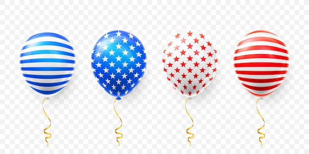 Set of helium balloons with american flag isolate