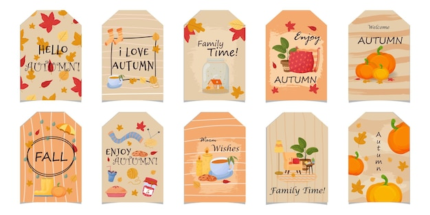 Set of hello autumn greeting cards in cozy scandinavian style isolated on white