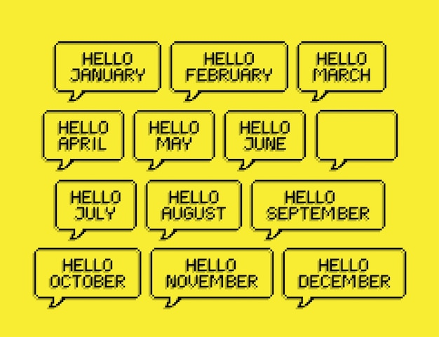 Set of hello month january till december pixel art lettering