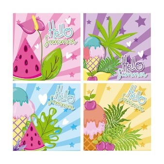 Set of hello summer cards