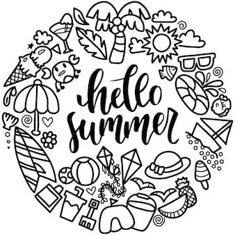 Set of hello summer doodle