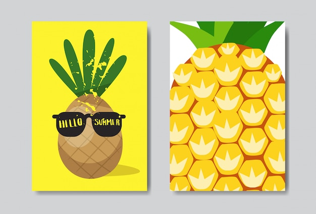 Set hello summer pineapple badge isolated typographic