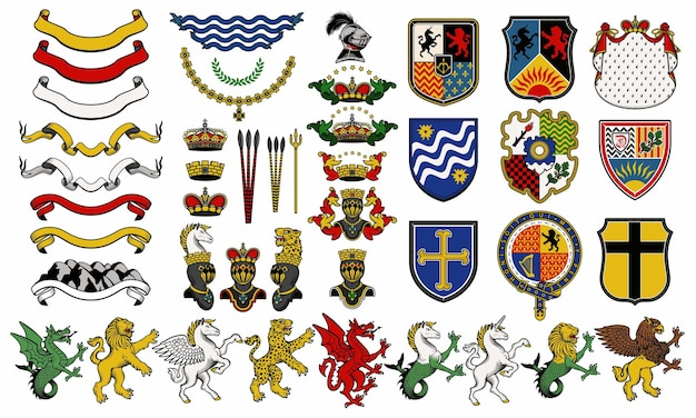 Set of heraldic  elements. heraldic animals set.