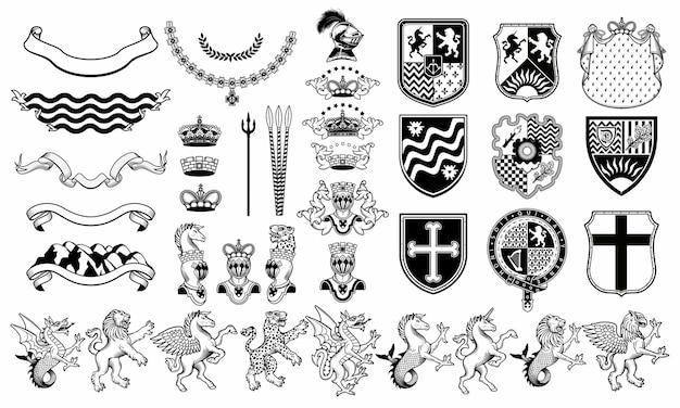 Set of heraldic  elements. heraldic animals set. Premium Vector