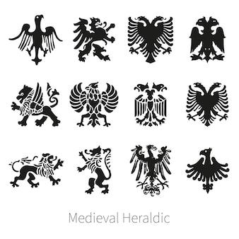 Набор геральдический средневековый векторный лев, грифон и орел