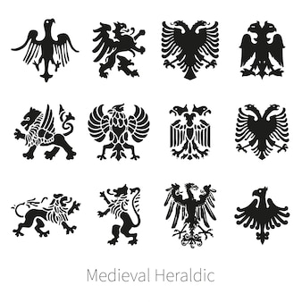 Set heraldic medieval vector lion, griffin and eagle