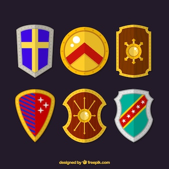Set of heraldic shields in flat design