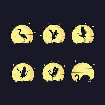 Set of heron silhouette with moon  logo