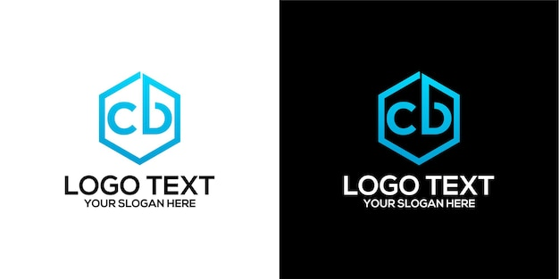 Set of hexagon logo combined with letter b and c designs template premium vector