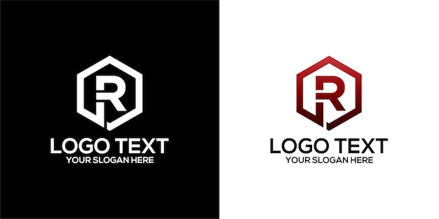 Set of hexagon logo combined with letter r designs template premium vector
