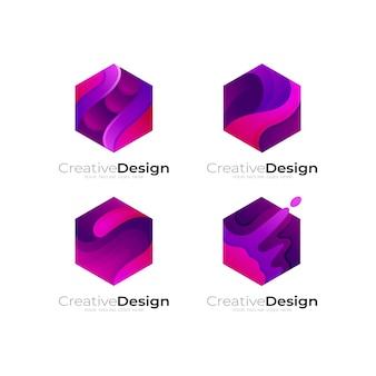 抽象的なデザインテンプレート、3dカラフルで六角形のロゴを設定します
