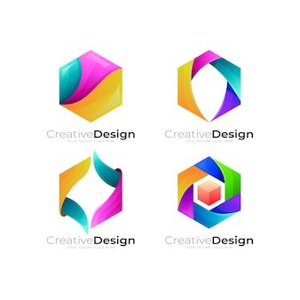 カラフルなデザインの組み合わせで六角形のロゴを設定します