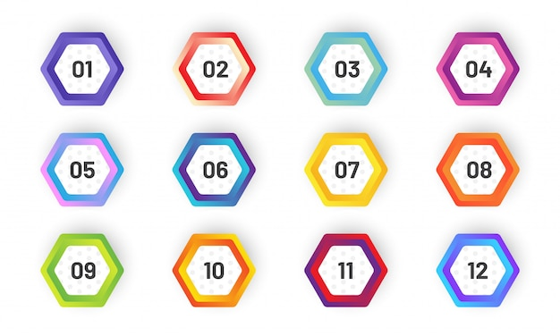 Set of hexagonal bullet point. colorful gradient markers with number