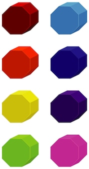 Set of hexagons in many colors