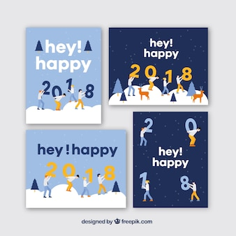 Set of hey happy 2018 greeting cards