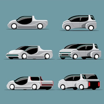Set of hi-tech cars in modern style, difference colors and design on white